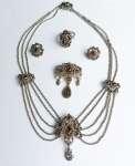 Komplet srebrnej biżuterii z granatami R. Ranft