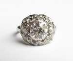 Platynowy pierścionek z brylantami i diamentami