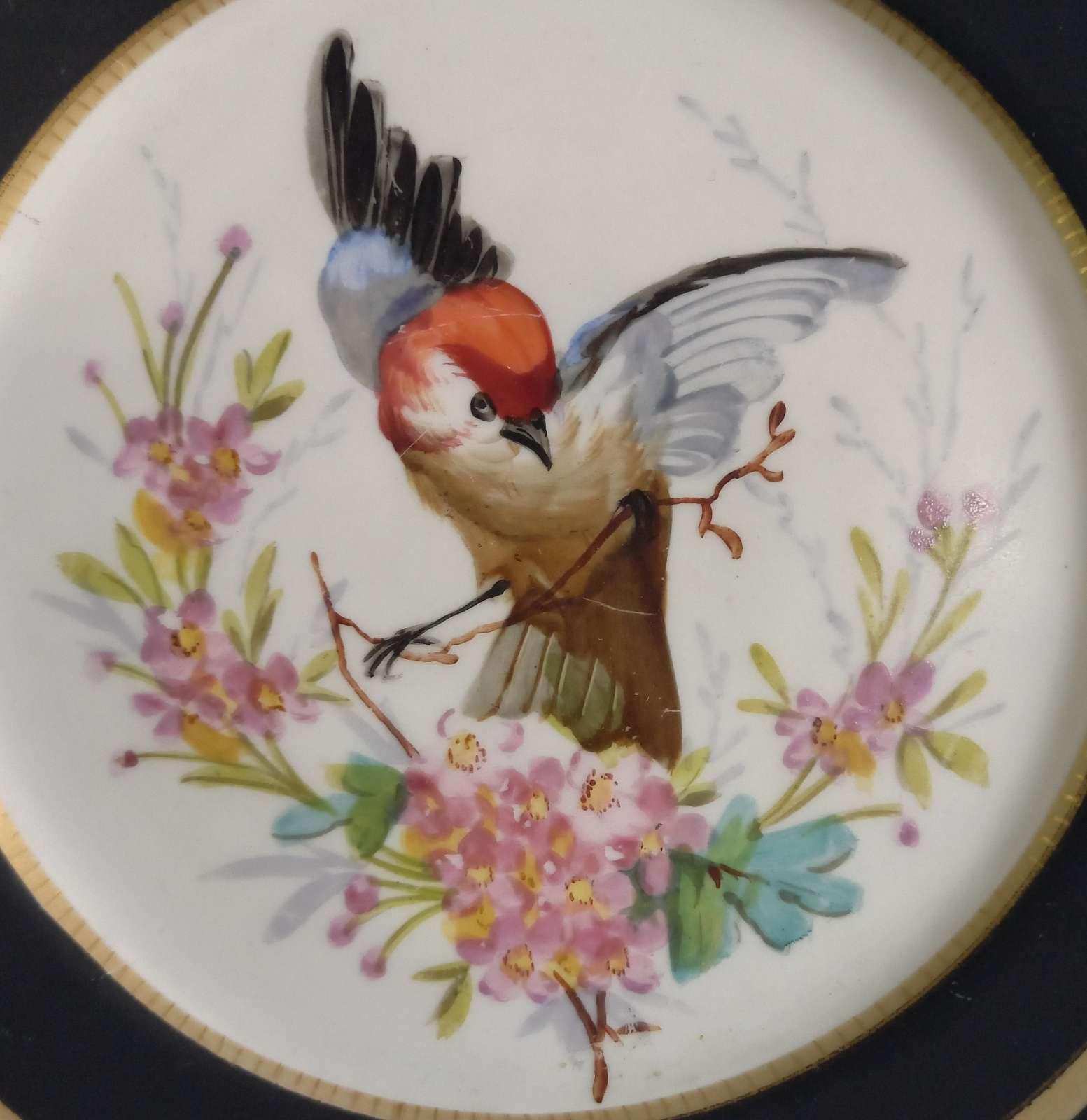 Talerzyk porcelanowy z ręcznie malowanym ptakiem