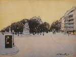 Odo DOBROWOLSKI Motyw paryski. Plac Camille-Jullian z pomnikiem Francisa Garniera, 1911