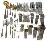Komplet sztućców srebrnych na 12 osób Cyankiewicz