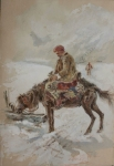 Artysta  NIEZNANY Hucuł na koniu, 1907 r.