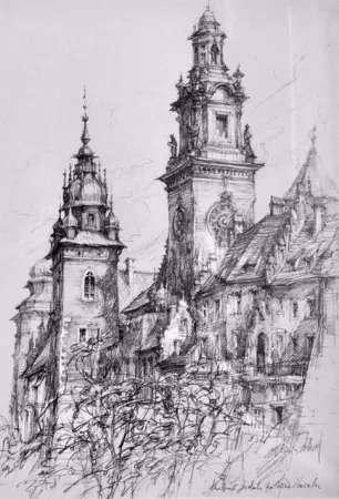 Kraków, widok na wieże Wawelu
