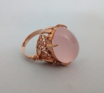 Pierścionek złoty z różowym kwarcem