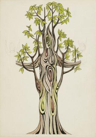 7. Drzewo ze szkicami anioła i szatana
