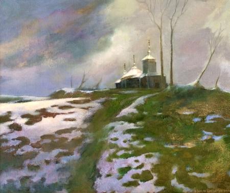 Pejzaż zimowy z cerkwią