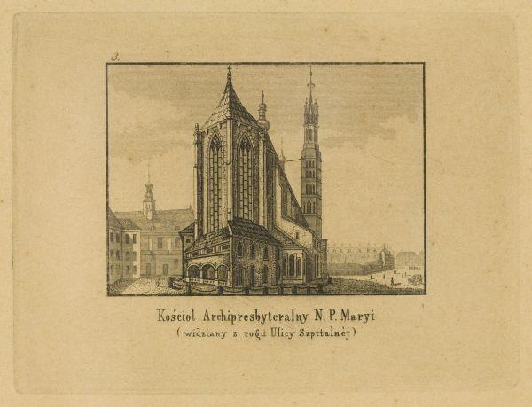 Cykl grafik: Kościoły Krakowskie. Kościół Archipresbyteralny N.P.Maryi (widziany z rogu ulicy Szpitalnej)