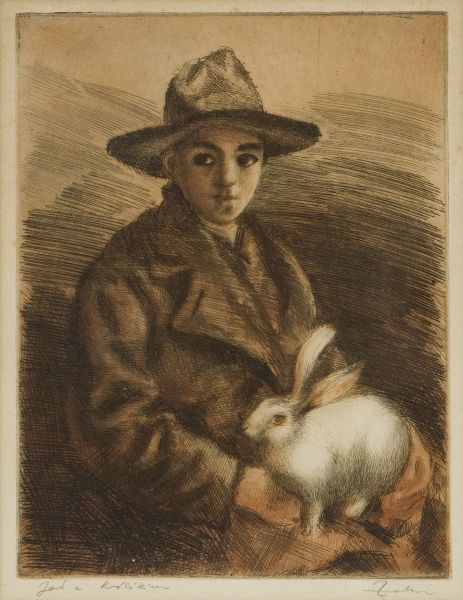 Chłopiec z królikiem