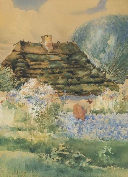 Pejzaż wiejski z chatą