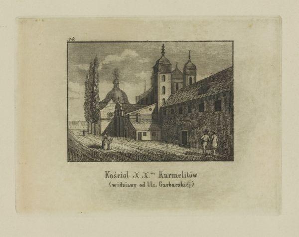 Cykl grafik: Kościoły Krakowskie. Kościół XX. Karmelitów (widziany od ul. Garbarskiej)