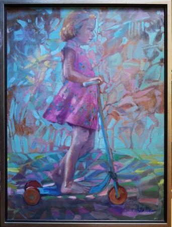 Z cyklu Bajkowe Dzieci - Dziewczynka na hulajnodze