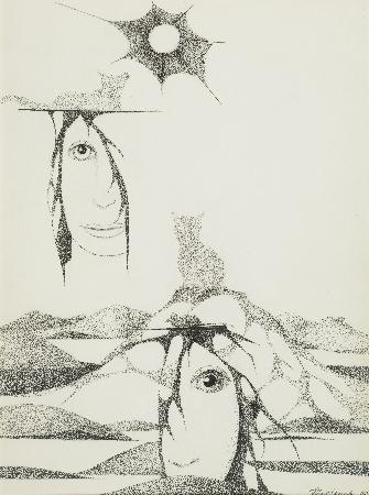 4. Kompozycja - twarze z cieniem kota na wzgórzu