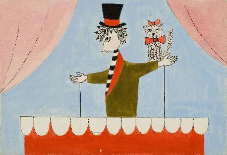 63. Projekt scenograficzny - młodzieniec w cylindrze z kotem