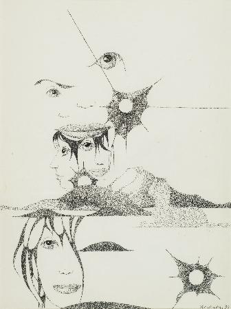 6. Kompozycja - spojrzenia dziewcząt z cieniem kota