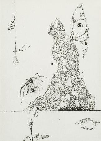 31. Kompozycja - surrealistyczna z głowami, ptakami i zwierzętami