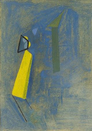 5. Abstrakcja błękitna z żółtym elementem towarzyszącym