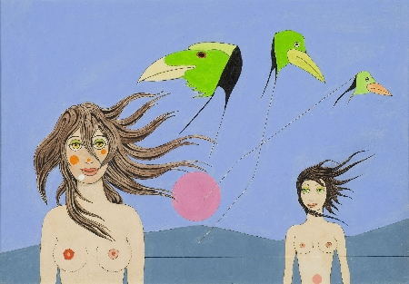 2. Kompozycja - dziewczyny z latawcami-ptakami