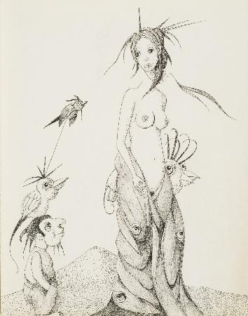 84. Akt kobiecy, ptaki, na głowie