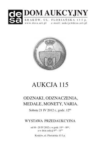 Aukcja 115 - Medale, odznaki, odznaczenia, monety, varia