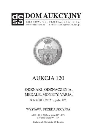 Aukcja 120 - Medale, odznaki, odznaczenia, monety, varia