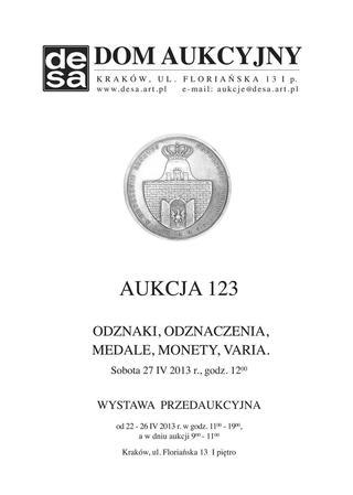 Aukcja 123 - Medale, odznaki, odznaczenia, monety, varia