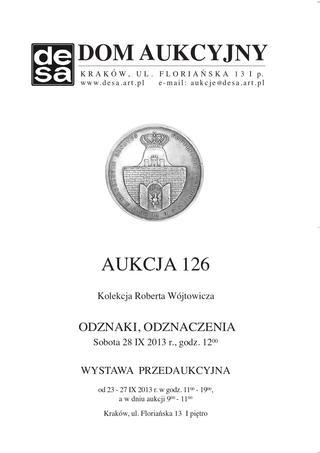 Aukcja 126 - ODZNAKI, ODZNACZENIA - Kolekcja Roberta Wójtowicza
