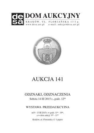 Aukcja 141 - Medale, odznaki, odznaczenia, monety, varia