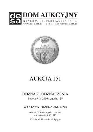 Aukcja 151 - Medale, odznaki, odznaczenia, monety, varia