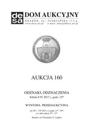 Aukcja 160 - Medale, odznaki, odznaczenia, monety, varia