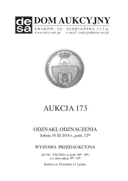 Aukcja 173 - Medale, odznaki, odznaczenia, monety, varia